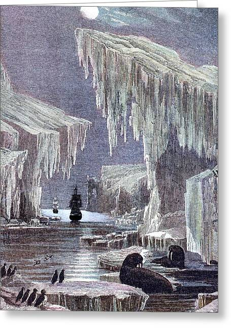 Night Terror Greeting Cards - Hms Erebus And Hms Terror In The Arctic Greeting Card by Credit : Sheila Terry