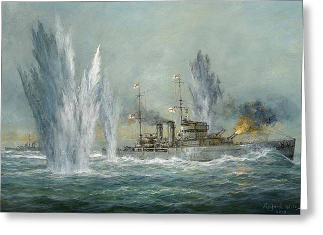 Navy Greeting Cards - HMS Exeter engaging in the Graf Spree at the Battle of the River Plate Greeting Card by Richard Willis