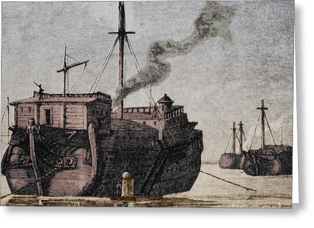Us History Greeting Cards - Hms Jersey, 1777 Greeting Card by Photo Researchers