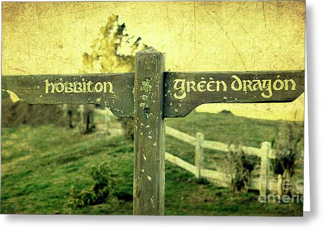 Hobbits Greeting Cards - Hobbiton Signage Greeting Card by Linde Townsend