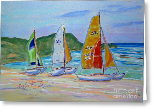 Luna Pastels Greeting Cards - Hobie Cat Plein Air Greeting Card by Rae  Smith PSC