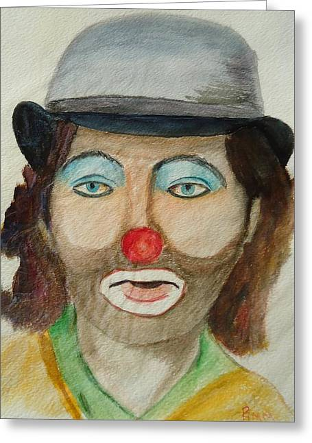 Hobo Clown Greeting Card by Betty Pimm