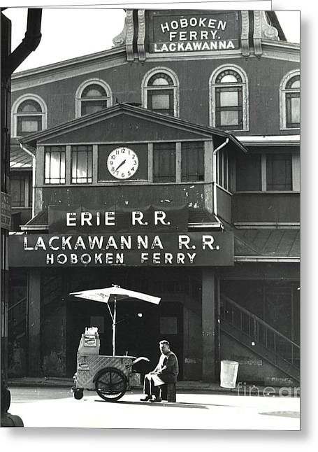 Clock Greeting Cards - Hoboken Ferry c1966 Greeting Card by Erik Falkensteen