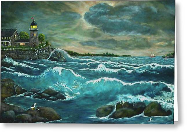 Hobson's Lighthouse Greeting Card by Ave Hurley