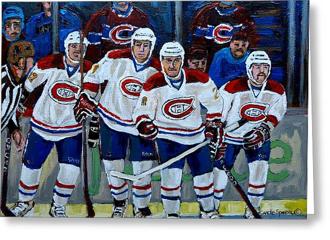Hockey Paintings Greeting Cards - Hockey Art At Bell Center Montreal Greeting Card by Carole Spandau