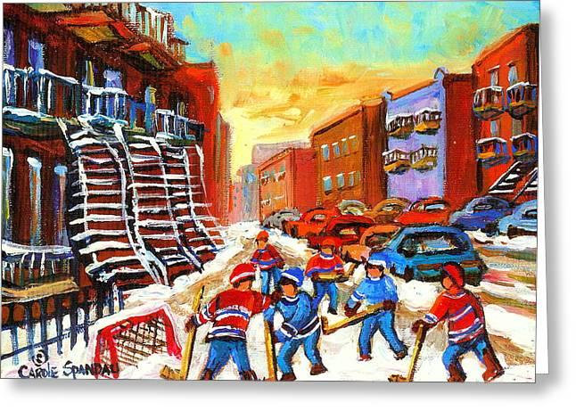 Hockey Paintings Greeting Cards - Hockey Art Kids Playing Street Hockey Montreal City Scene Greeting Card by Carole Spandau
