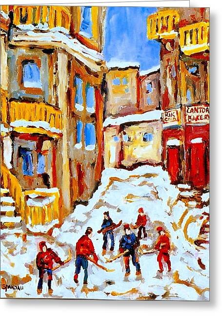 Hockey Paintings Greeting Cards - Hockey Art Montreal City Streets Boys Playing Hockey Greeting Card by Carole Spandau