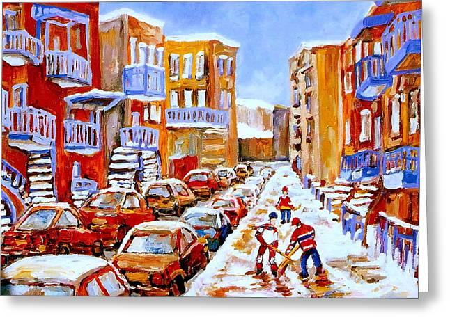 Hockey Paintings Greeting Cards - Hockey Art Streets Of Montreal Hockey Paintings Greeting Card by Carole Spandau