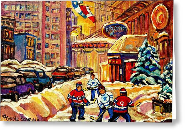 Snow Fun Hockey Ice Winter People City Cityscape Abstract Texture Expressionism Cement Landscape Greeting Cards - Hockey Fever Hits Montreal Bigtime Greeting Card by Carole Spandau
