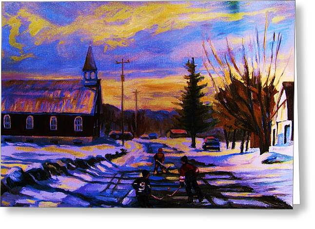 Classical Montreal Scenes Greeting Cards - Hockey Game In The Village Greeting Card by Carole Spandau