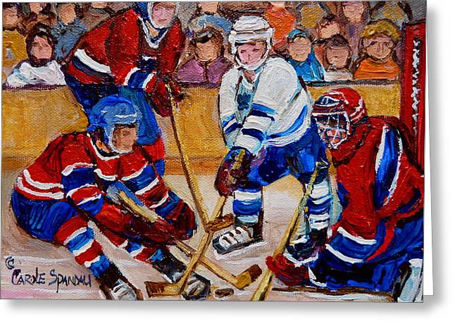Hockey Memorabilia Greeting Cards - Hockey Game Scoring The Goal Greeting Card by Carole Spandau