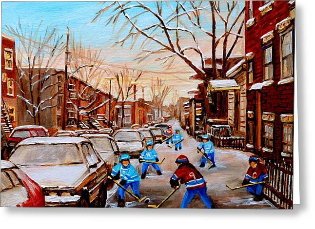 Classical Montreal Scenes Greeting Cards - Hockey Gameon Jeanne Mance Street Montreal Greeting Card by Carole Spandau