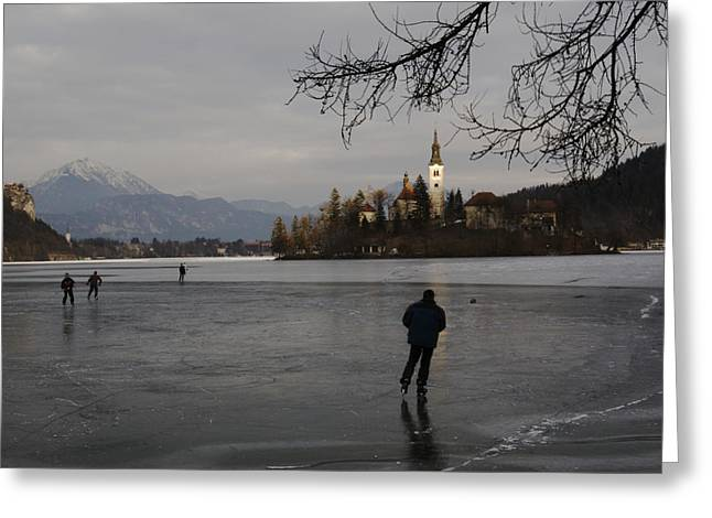Bled Greeting Cards - Hockey Players Brave The Cold Greeting Card by Melissa Farlow