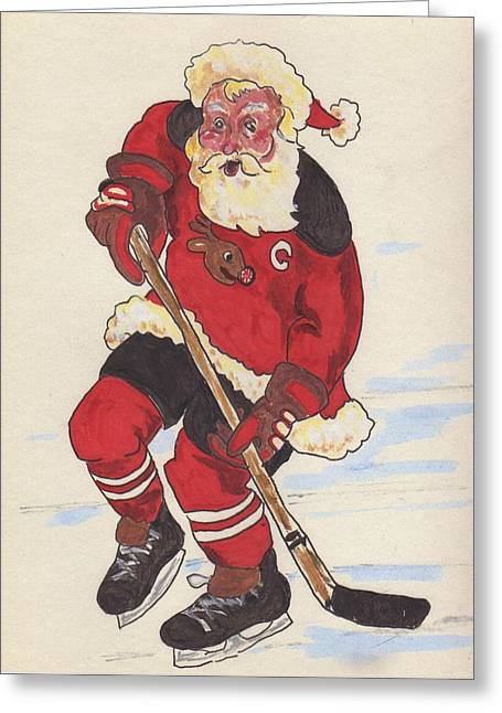 Player Drawings Greeting Cards - Hockey Santa Greeting Card by Todd  Peterson