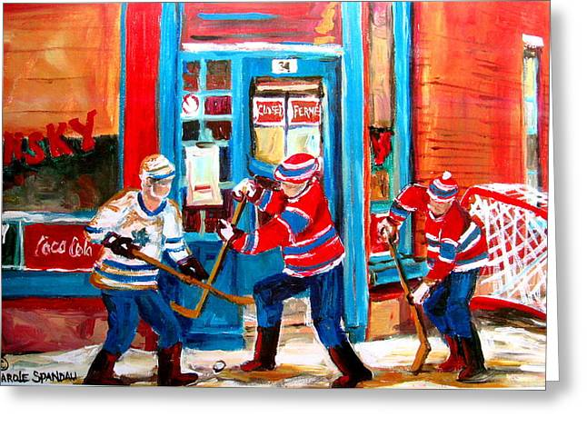 Carole Spandau Art Of Hockey Paintings Greeting Cards - Hockey Sticks In Action Greeting Card by Carole Spandau