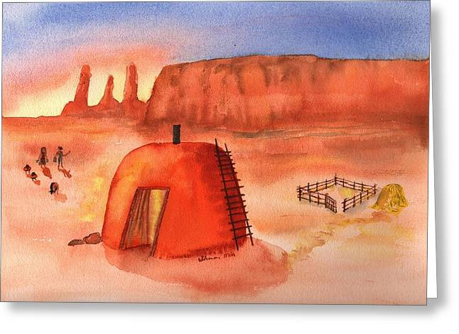Water Color Greeting Cards - Hogan in Monument Valley Greeting Card by Sharon Mick