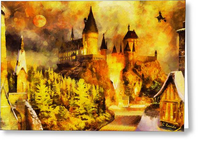 Recently Sold -  - Fantasy Tree Greeting Cards - Hogwarts Greeting Card by George Rossidis