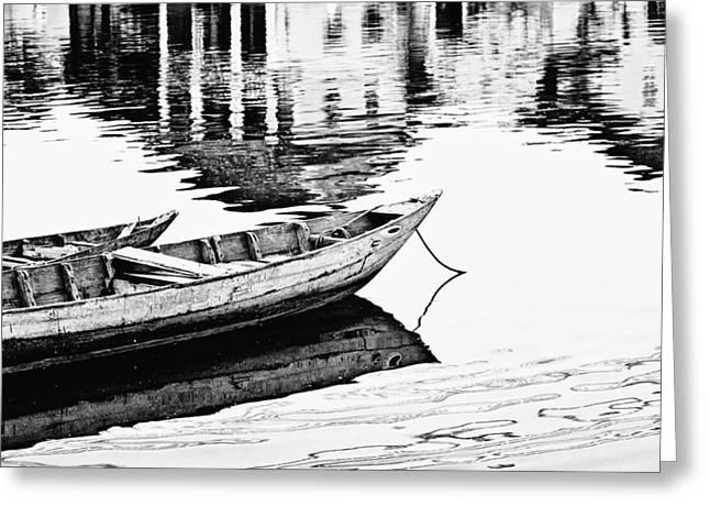 Shining Down Greeting Cards - Hoi An Fishing Boats Greeting Card by Skip Nall