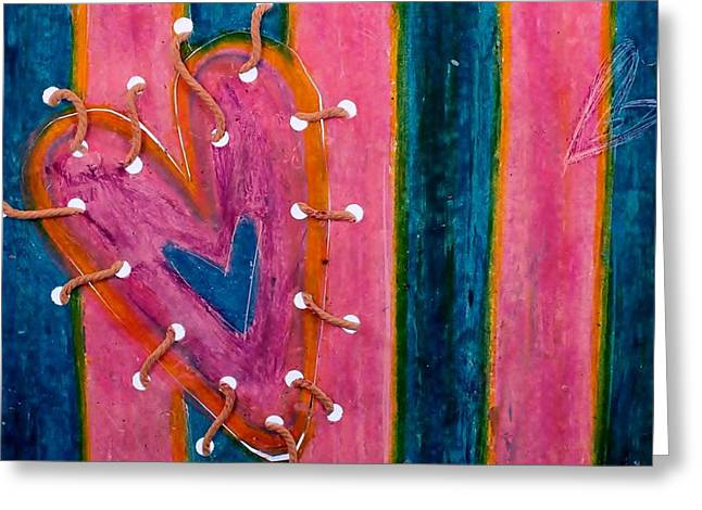 Repaired Mixed Media Greeting Cards - Holding it Together  Greeting Card by Emma Manners