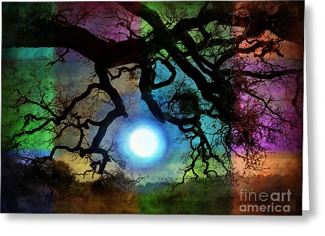 Surreal Photography Greeting Cards - Holding the Moon Greeting Card by Laura Iverson