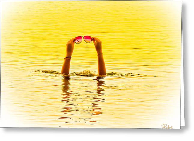 Holding The Sunnies - Yellow And Pink Greeting Card by Allan Rufus
