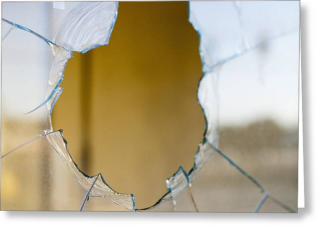 Glass Reflecting Greeting Cards - Hole in a The Glass of a Window Greeting Card by Paul Edmondson