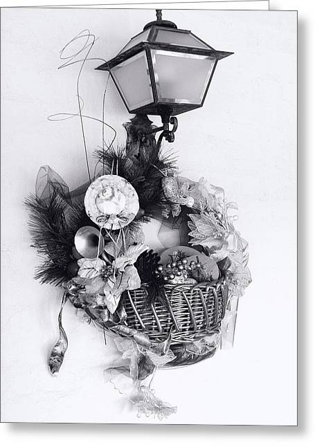 Holiday Basket On Lamp Bw Greeting Card by Linda Phelps