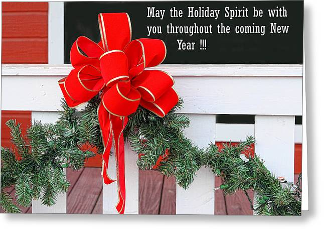 Pine Needles Greeting Cards - Holiday Christmas Bow Greeting Card by Linda Phelps