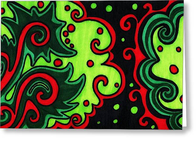 Unique Christmas Cards Greeting Cards - Holiday Colors Abstract Greeting Card by Mandy Shupp