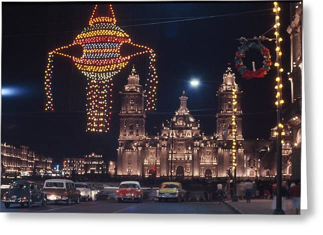 Mexico City Greeting Cards - Holiday Lights Decorate The Sky Greeting Card by Kip Ross