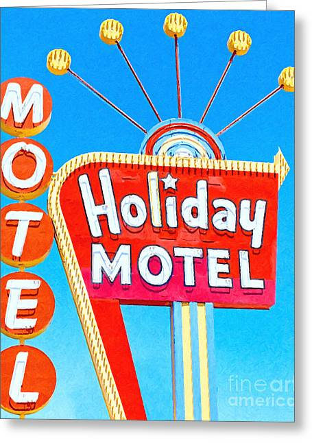Las Vegas Sign Greeting Cards - Holiday Motel Las Vegas Greeting Card by Wingsdomain Art and Photography