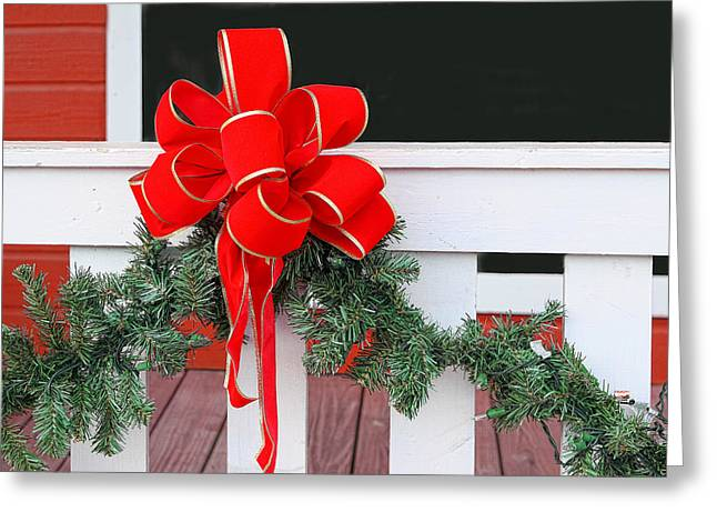 Pine Needles Greeting Cards - Holiday Red Bow Greeting Card by Linda Phelps