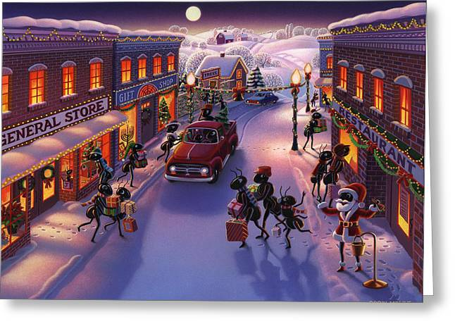 Snow Scenes Greeting Cards - Holiday Shopper Ants Greeting Card by Robin Moline