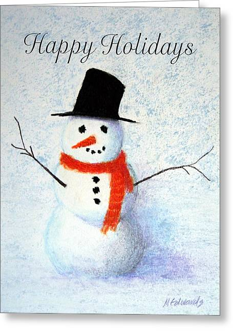 Scarf Pastels Greeting Cards - Holiday Snowman Greeting Card by Marna Edwards Flavell