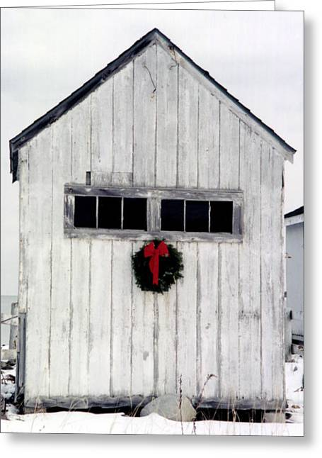 Shack Greeting Cards - Holiday Spirit Greeting Card by Christina Solstad
