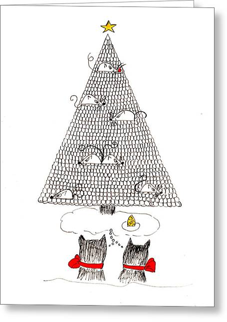 Cheeses Drawings Greeting Cards - Holiday Wishes Do Come True Greeting Card by Lou Belcher