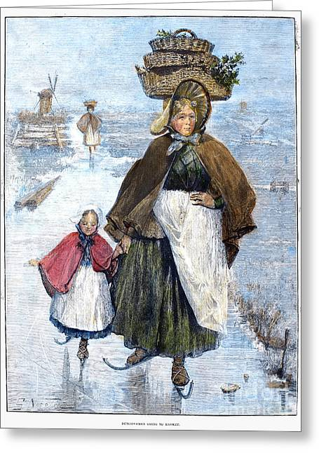 Apron Greeting Cards - Holland: Skating, 1891 Greeting Card by Granger
