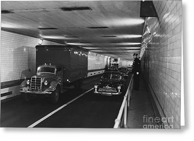 New York Cops Greeting Cards - Holland Tunnel, Nyc Greeting Card by Photo Researchers