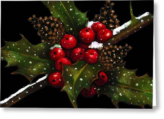 Black Berries Pastels Greeting Cards - Holly Berries Pine Cones And Snow Greeting Card by Joyce Geleynse