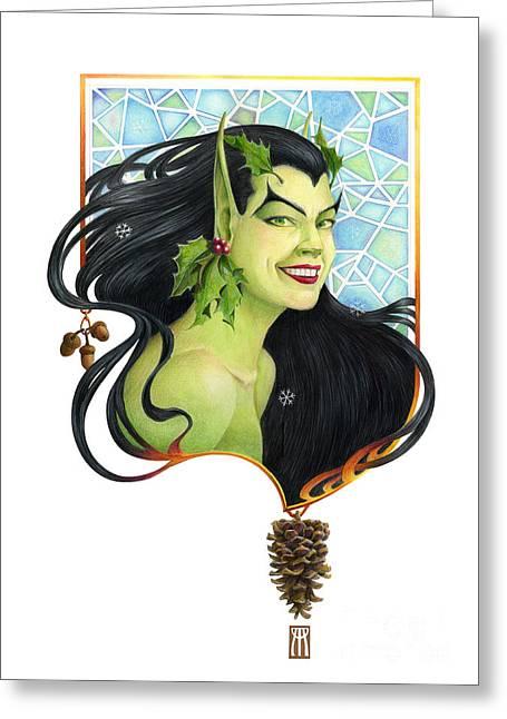 Fantasy Artwork Greeting Cards - Holly Elf Greeting Card by Melissa A Benson