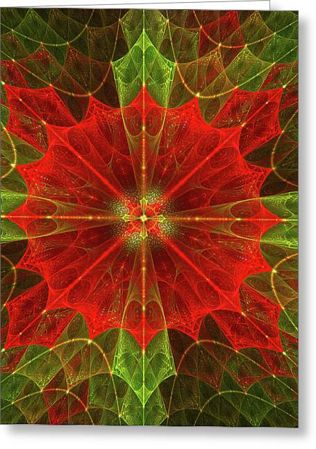 Geometric Effect Greeting Cards - Holly Greeting Card by Mary Lane