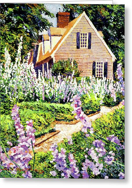 Cape Cod Paintings Greeting Cards - Hollyhock House Greeting Card by David Lloyd Glover