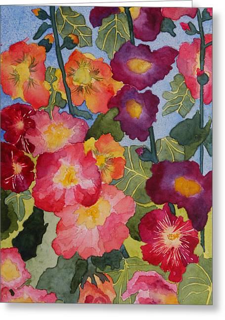 Print On Acrylic Greeting Cards - Hollyhocks in Bloom Greeting Card by Kimberlee Weisker