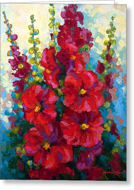 Roses Paintings Greeting Cards - Hollyhocks Greeting Card by Marion Rose