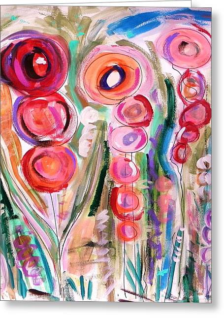Work On Paper Drawings Greeting Cards - Hollyhocks of the Garden Greeting Card by Mary Carol Williams