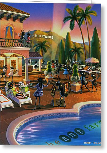 Ants Greeting Cards - Hollywood Ants Cocktail party Greeting Card by Robin Moline