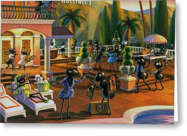 Hollywood Ants Cocktail party Greeting Card by Robin Moline