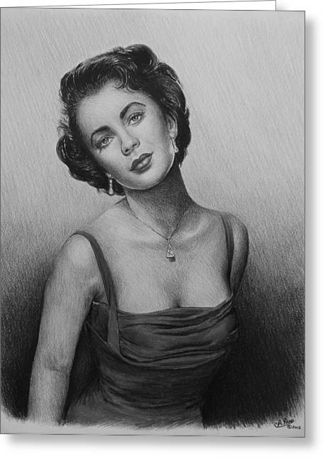 Famous Person Drawings Greeting Cards - hollywood greats Elizabeth Taylor Greeting Card by Andrew Read