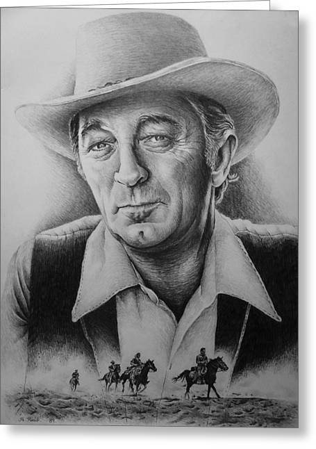 Famous Person Drawings Greeting Cards - Hollywood Greats -robert Mitchum Greeting Card by Andrew Read
