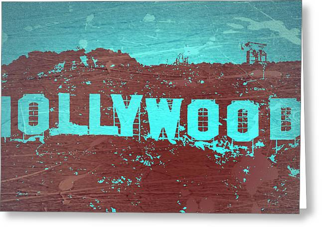 Movie Star Digital Greeting Cards - Hollywood Sign Greeting Card by Naxart Studio